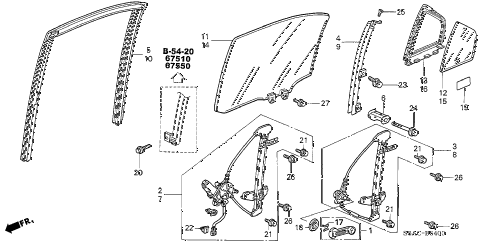 2005 civic LX(SIDE SRS) 4 DOOR 4AT REAR DOOR WINDOWS - DOOR REGULATOR diagram