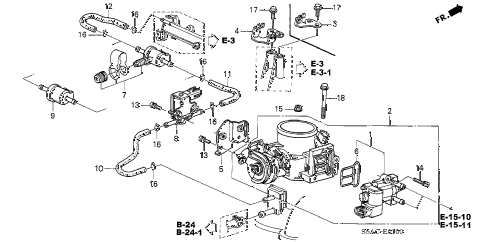 2005 civic DX(AIR CONDITIONE 4 DOOR 5MT THROTTLE BODY diagram
