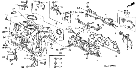 2005 civic EX(SPECIAL EDITIO 4 DOOR 5MT INTAKE MANIFOLD (1) diagram