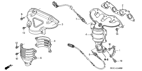 2005 civic GX(ABS) 4 DOOR CVT EXHAUST MANIFOLD (SOHC) diagram