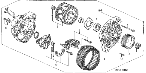 2005 civic LX(SIDE SRS) 4 DOOR 5MT ALTERNATOR (MITSUBISHI) diagram