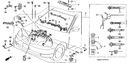 2005 civic GX(ABS/SIDE SRS) 4 DOOR CVT ENGINE WIRE HARNESS diagram