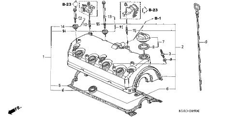 2005 civic EX 4 DOOR 4AT CYLINDER HEAD COVER diagram