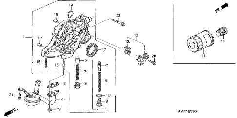 2005 civic LX(SPECIAL EDITIO 4 DOOR 5MT OIL PUMP - OIL STRAINER diagram