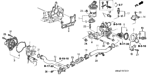2005 civic LX-CAR(CAR SHARE) 4 DOOR 4AT WATER PUMP - SENSOR (1) diagram