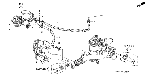 2005 civic EX(SIDE SRS) 4 DOOR 4AT WATER HOSE (1) diagram