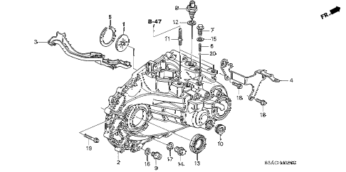 2005 civic EX(SPECIAL EDITIO 4 DOOR 5MT MT TRANSMISSION CASE diagram