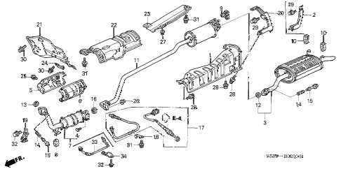 2005 civic MX(HYBRID) 4 DOOR 5MT EXHAUST PIPE - MUFFLER diagram