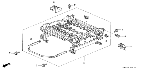 2003 civic MX(HYBRID) 4 DOOR CVT FRONT SEAT COMPONENTS (L.) diagram
