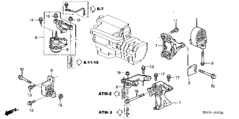2003 civic MX(HYBRID) 4 DOOR CVT ENGINE MOUNT (AT) diagram