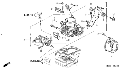2004 civic MX(HYBRID) 4 DOOR CVT THROTTLE BODY diagram