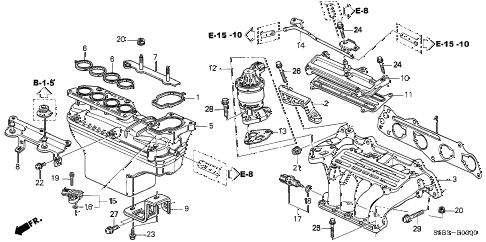 2004 civic MX(HYBRID) 4 DOOR CVT INTAKE MANIFOLD diagram