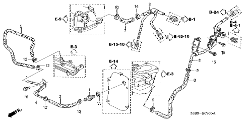 2003 civic MX(HYBRID) 4 DOOR 5MT INSTALL PIPE diagram
