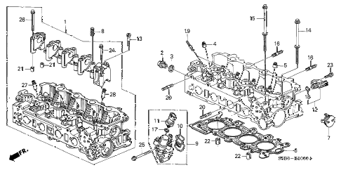 2004 civic MX(HYBRID) 4 DOOR CVT CYLINDER HEAD diagram
