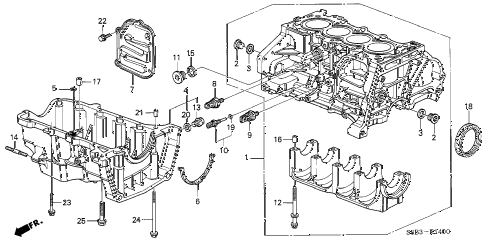 2003 civic MX(HYBRID) 4 DOOR CVT CYLINDER BLOCK - OIL PAN diagram