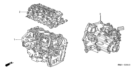 2003 civic MX(HYBRID) 4 DOOR CVT ENGINE ASSY. - TRANSMISSION ASSY. diagram