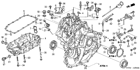 2003 civic MX(HYBRID) 4 DOOR CVT AT TRANSMISSION CASE - OIL PAN diagram