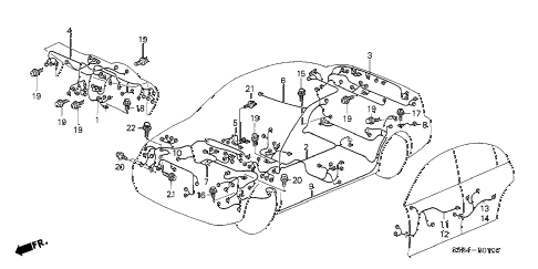 2003 civic MX(HYBRID) 4 DOOR 5MT WIRE HARNESS diagram