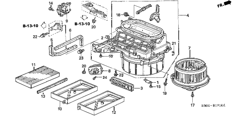 2003 civic MX(HYBRID) 4 DOOR CVT HEATER BLOWER diagram