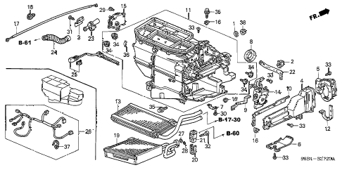 2004 civic MX(HYBRID) 4 DOOR 5MT HEATER UNIT diagram