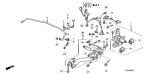 2003 civic MX(HYBRID) 4 DOOR 5MT REAR LOWER ARM diagram