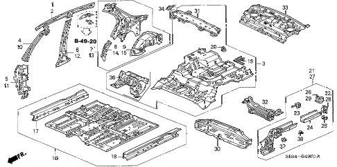 2005 civic MX(HYBRID) 4 DOOR 5MT FLOOR - INNER PANEL diagram