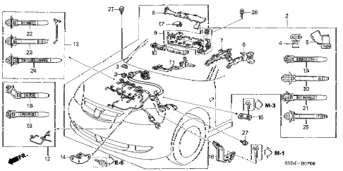2004 civic MX(HYBRID) 4 DOOR 5MT ENGINE WIRE HARNESS diagram