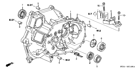 2004 civic MX(HYBRID) 4 DOOR 5MT MT CLUTCH CASE diagram