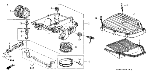 2001 civic HX 2 DOOR CVT AIR CLEANER diagram