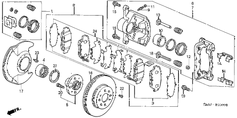 2002 civic HX 2 DOOR CVT FRONT BRAKE diagram