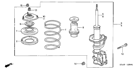 2003 civic EX 2 DOOR 5MT FRONT SHOCK ABSORBER diagram