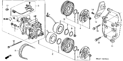 2001 civic EX 2 DOOR 5MT A/C COMPRESSOR (SANDEN) diagram