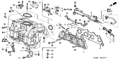 2002 civic EX(SIDE SRS) 2 DOOR 5MT INTAKE MANIFOLD diagram