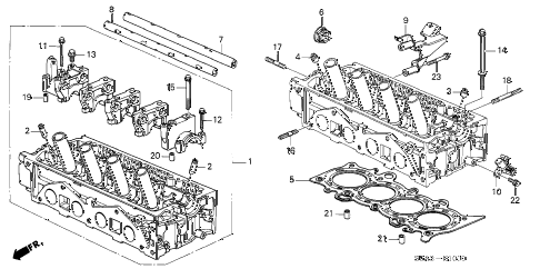2001 civic DX 2 DOOR 5MT CYLINDER HEAD (SOHC) diagram