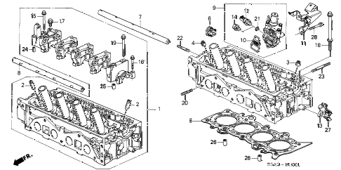 2002 civic EX(SIDE SRS) 2 DOOR 5MT CYLINDER HEAD (SOHC VTEC) diagram