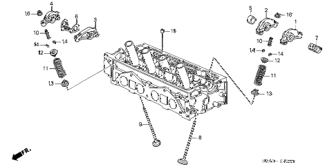 2002 civic LX(SIDE SRS) 2 DOOR 5MT VALVE - ROCKER ARM (SOHC) diagram