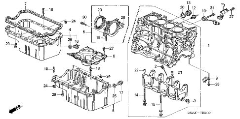 2004 civic HX 2 DOOR CVT CYLINDER BLOCK - OIL PAN diagram