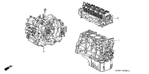 2004 civic LX(SIDE SRS) 2 DOOR 5MT ENGINE ASSY. - TRANSMISSION ASSY. diagram