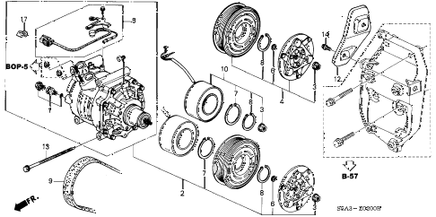 2001 civic DX 2 DOOR 4AT A/C COMPRESSOR (SANDEN) diagram