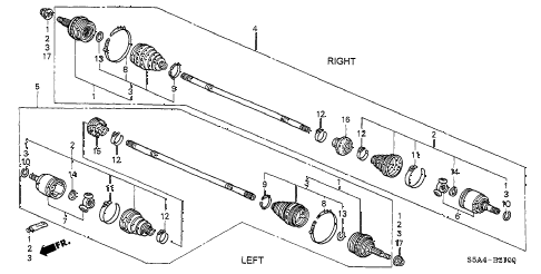 2002 civic EX(SIDE SRS) 2 DOOR 4AT DRIVESHAFT diagram