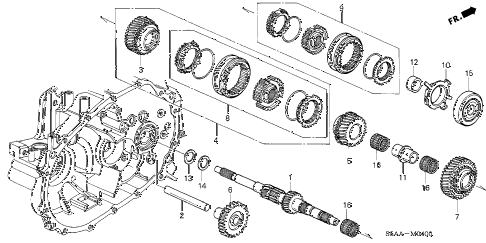 2003 civic LX(SIDE SRS) 2 DOOR 5MT MT MAINSHAFT diagram