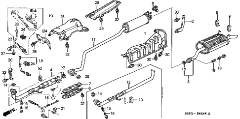 2004 civic LX(SIDE SRS) 2 DOOR 4AT EXHAUST PIPE - MUFFLER diagram