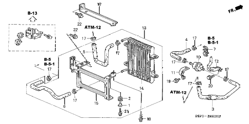 2001 civic HX 2 DOOR CVT ATF COOLER diagram