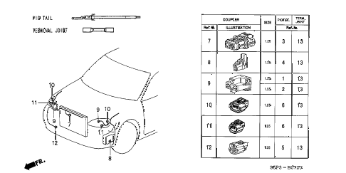 2003 civic HX 2 DOOR 5MT ELECTRICAL CONNECTORS (FR.) diagram