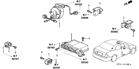 2003 civic HX 2 DOOR CVT SRS UNIT diagram
