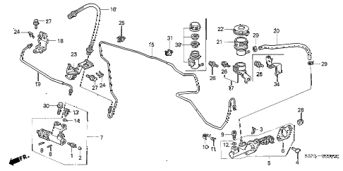 2002 civic LX(SIDE SRS) 2 DOOR 5MT CLUTCH MASTER CYLINDER (1) diagram