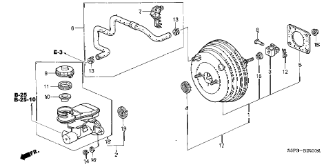 2002 civic EX(SIDE SRS) 2 DOOR 5MT BRAKE MASTER CYLINDER  - MASTER POWER (1) diagram