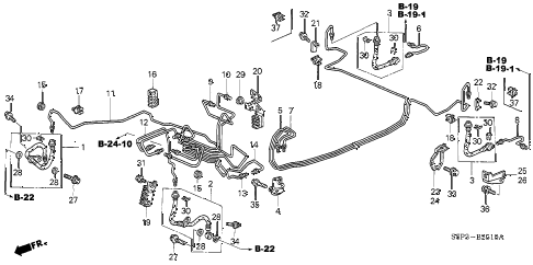 2004 civic EX(SIDE SRS) 2 DOOR 4AT BRAKE LINES (ABS) (1) diagram