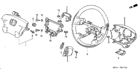 2001 civic DX 2 DOOR 5MT STEERING WHEEL (SRS) diagram
