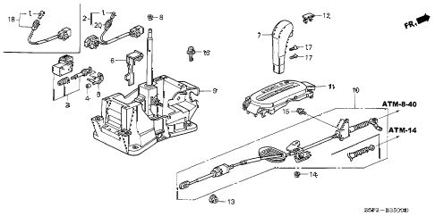 2003 civic HX 2 DOOR CVT SELECT LEVER diagram